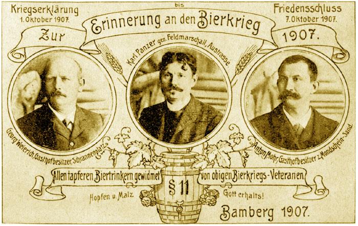 Postkarte zur Erinnerung an den Bamberger Bierkrieg