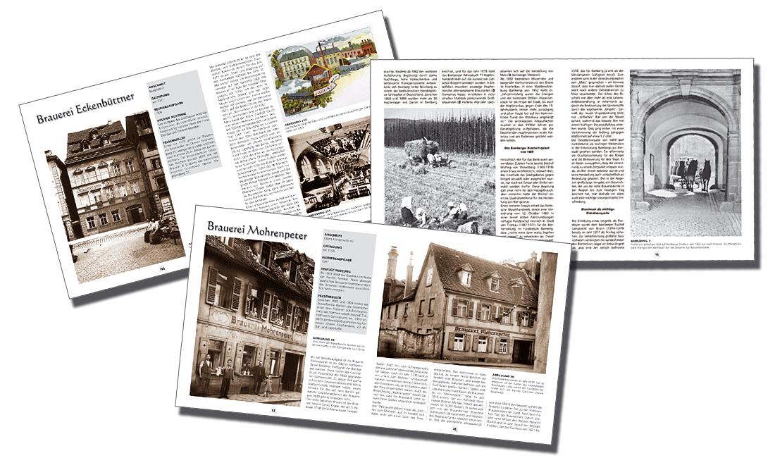"""Drei Seiten aus dem Buch """"Bamberg, die wahre Hauptstadt des Bieres"""""""